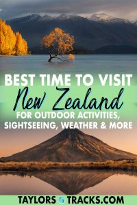 The best time of year to visit New Zealand all depends on what you want to do. While there really is no bad time to visit New Zealand, there are certainly notes to make for the best time to travel to New Zealand for hiking, hitting the slopes, sightseeing, wine tasting, fall foliage, to avoid crowds, beaches and more. Click to find the best time to visit New Zealand for your travel needs and wants!